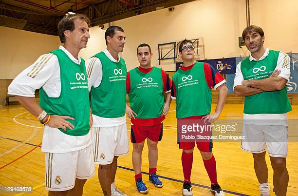 Former Real Madrid players Alfonso Perez Dani Garcia Lara and Rafael Martin Vazquez ahead of a charity football match with cerebral palsy sufferers...