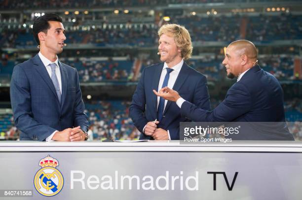 Former Real Madrid players Alvaro Arbeloa and Roberto Carlos at Real Madrid TV prior to the Santiago Bernabeu Trophy 2017 match between Real Madrid...