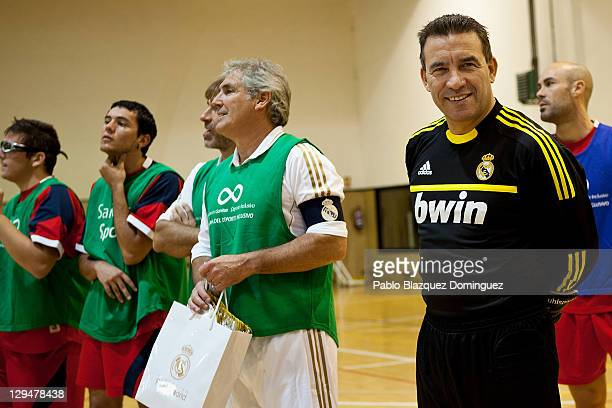 Former Real Madrid players Rafael Martin Vazquez Carlos Santillana and Paco Buyo before a charity football match with cerebral palsy sufferers at the...