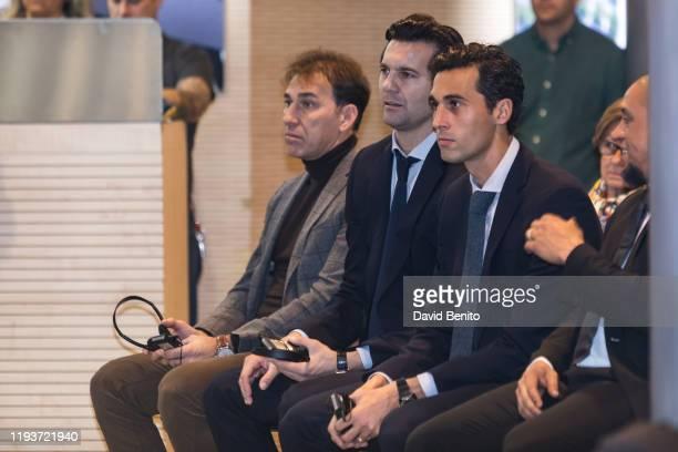 Former Real madrid Players Rafael Martín Vázuez Santiago Hernán Solari Álvaro Arbeloa and Roberto Carlos are during the presentation of the 'Corazon...