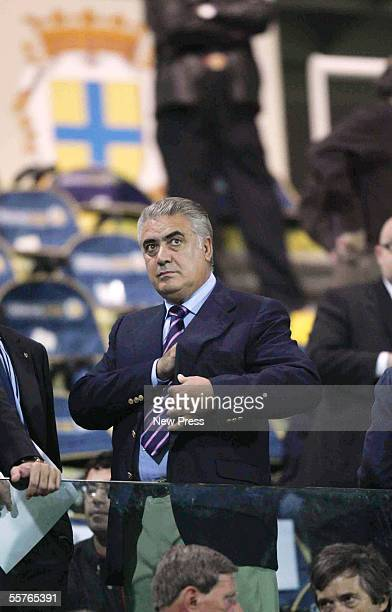 Former Real Madrid president Lorenzo Sanz watches the Serie A match between Parma and Juventus at the Ennio Tardini Stadium on September 24 2005 in...