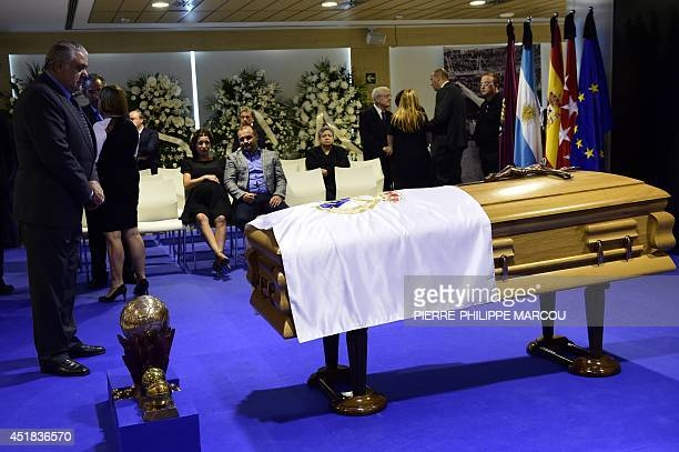 Former Real Madrid's president Lorenzo Sanz looks at the coffin of late Real Madrid's honorary president Alfredo di Stefano at the Santiago Bernabeu...