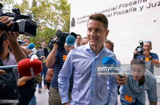 Former Real Zaragoza footballer Ander Herrera arrives at the court of Valencia on September 03, 2019 in Valencia, Spain. Charges in this case relate...