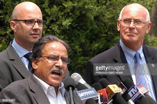 Former rebel leader and Chairman of the Communist Party of Nepal Maoist Prachanda talks to journalists while United Nations Resident Coordinator For...