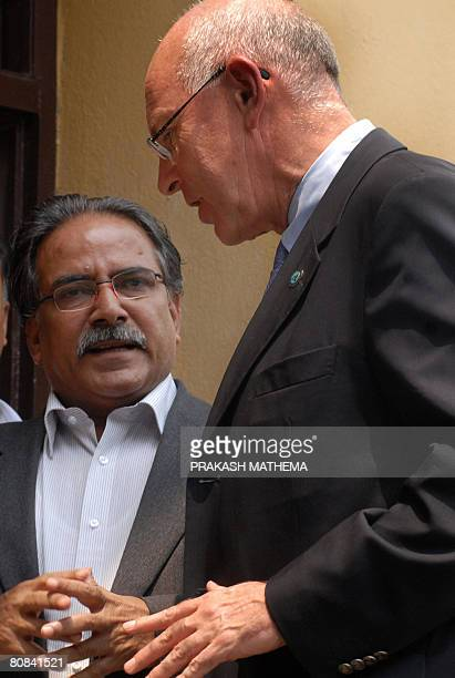 Former rebel leader and Chairman of the Communist Party of Nepal Maoist Prachanda and Head of the United Nations peace mission in Nepal Ian Martin...