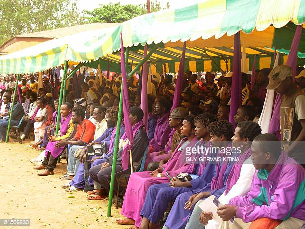 Former rebel soldiers sit during the official ceremony launching the national demobilisation disarmament and reintegration process for former rebel...