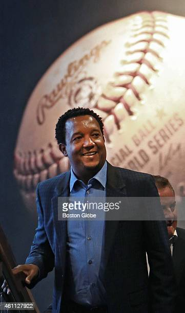 Former Red Sox pitcher Pedro Martinez was elected to the Baseball Hall of Fame on January 6, 2015. He is pictured as he comes up the stairs to the...