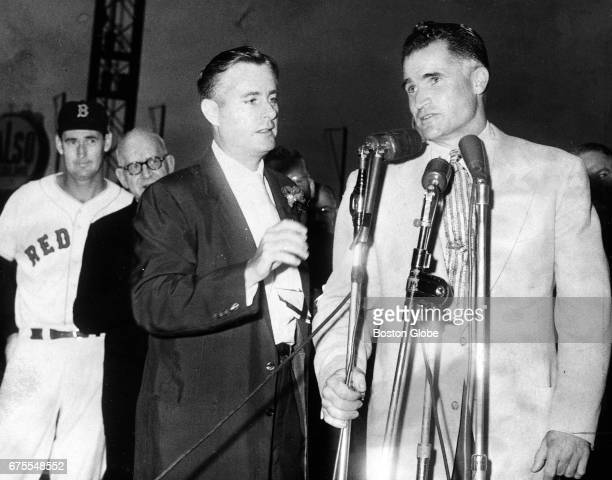Former Red Sox player Bobby Doerr addresses the crowd after the announcement that he would return to the team as a special instructor at Fenway Park...