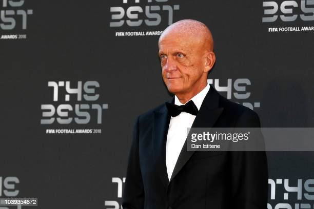 Former referee Pierluigi Collina arrives on the Green Carpet ahead of The Best FIFA Football Awards at Royal Festival Hall on September 24 2018 in...