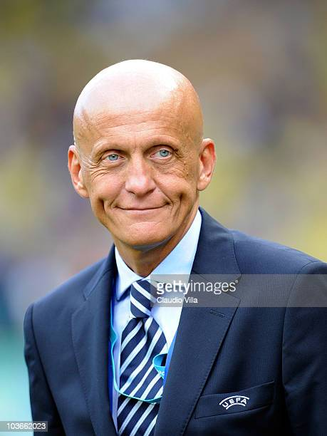 Former referee Pierluigi Collina looks on before the UEFA Super Cup match between Inter Milan and Atletico Madrid at Louis II Stadium on August 27...