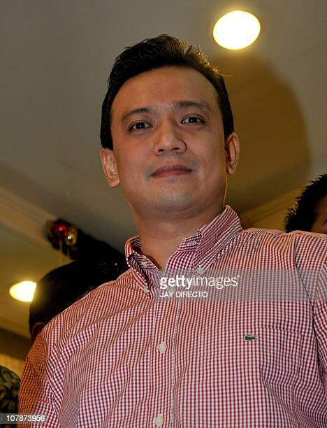 Former renegade naval officer turned senator Antonio Trillanes looks on after swearing by the truthfulness of his application for amnesty offered by...