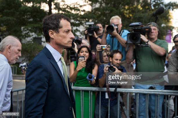 Former Rep Anthony Weiner leaves Manhattan Federal Court September 25 2017 in New York City Weiner was sentenced to 21 months in prison for sexting...