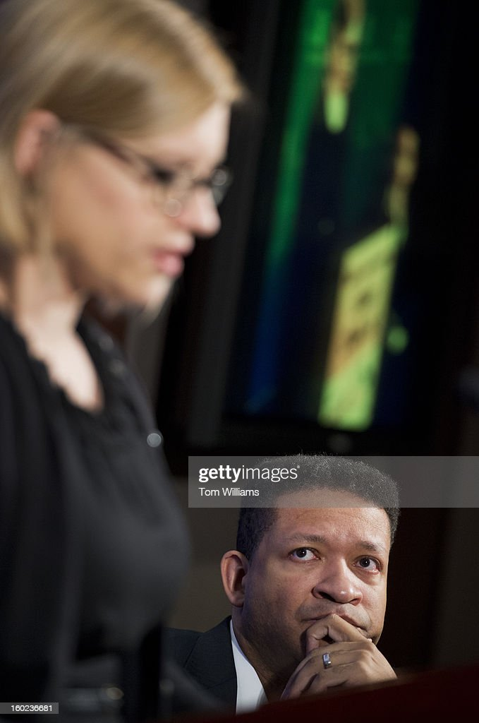 Former Rep. Artur Davis, D-Ala., fellow at the Institute of Politics at Harvard University, and Lindsey Burke, fellow in education at the Heritage Foundation, conduct a discussion at the Foundation entitled 'Choosing to Succeed: A Conversation about Educational Opportunity.'