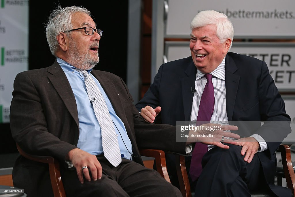 Former Rep. Barney Frank (D-MA) (L) and former Sen. Chris Dodd (D-CT) talk about their hallmark and namesake legislation, the Dodd-Frank Wall Street reform law, on the fifth anniversary of the law at the Newseum July 20, 2015 in Washington, DC. The event was hosted by Better Markets, a self-described nonpartisan, independent and nonprofit organization that promotes the public interest in the capital and commodity markets.