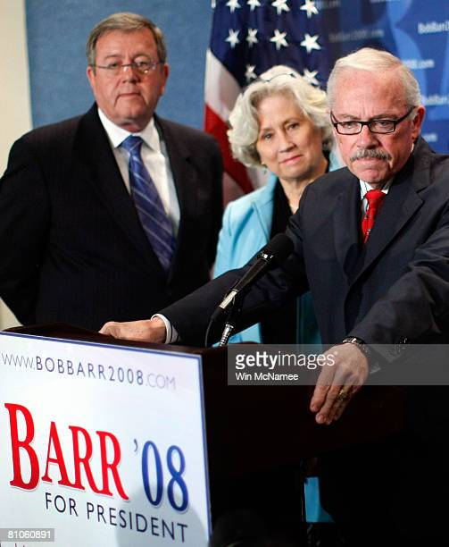 Former Rep Bob Barr speaks during a news conference to announce his candidacy for President of the United States May 12 2008 in Washington DC During...