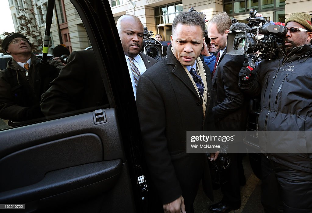 Former Rep. Jesse Jackson Jr., leaves U.S. District Court February 20, 2013 in Washington, DC. Jackson and his wife, Sandi Jackson, both pleaded guilty to federal charges after being accused of spending more than $750,000 in campaign funds to purchase luxury items, memorabilia and other goods.
