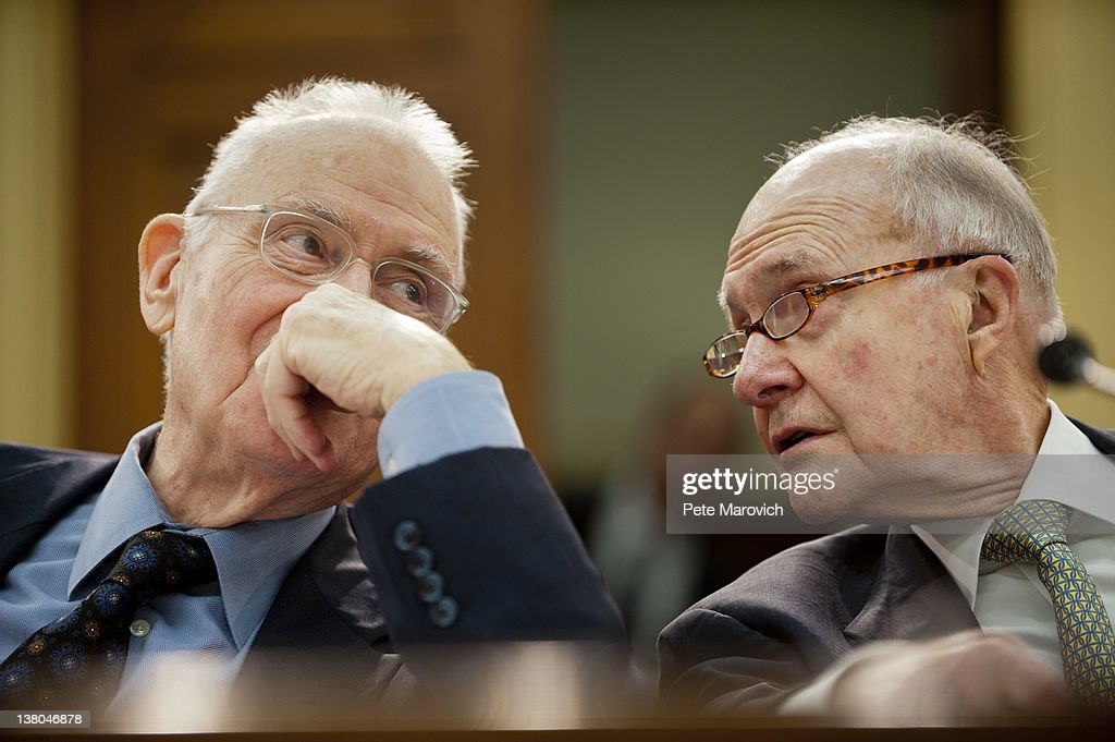 Former Rep. Lee Hamilton, (D-IN), and retired Air Force Lt. Gen. Brent Scowcroft, co-chairmen of the Blue Ribbon Commission on America's Nuclear Future confer prior to testifying before the House Energy and Commerce Committee on Capitol Hill February 1, 2012 in Washington, DC. The subcommittee heard the recommendations of the Blue Ribbon Commission on America's Nuclear Future on how to create safe, long-term solutions for managing and disposing of the nation's spent nuclear fuel and high-level radioactive waste.