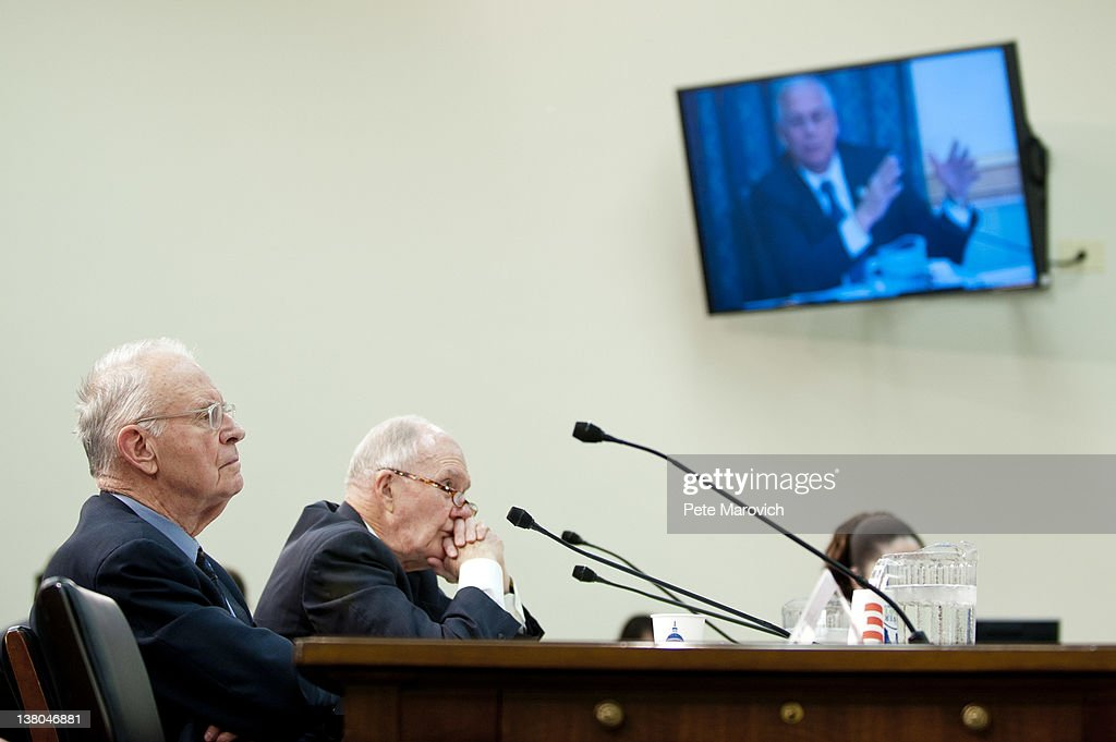 Former Rep. Lee Hamilton, (D-IN), and retired Air Force Lt. Gen. Brent Scowcroft, co-chairmen of the Blue Ribbon Commission on America's Nuclear Future testify before the House Energy and Commerce Committee on Capitol Hill February 1, 2012 in Washington, DC. The subcommittee heard the recommendations of the Blue Ribbon Commission on America's Nuclear Future on how to create safe, long-term solutions for managing and disposing of the nation's spent nuclear fuel and high-level radioactive waste.