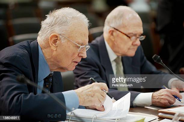 Former Rep Lee Hamilton and retired Air Force Lt Gen Brent Scowcroft cochairmen of the Blue Ribbon Commission on America's Nuclear Future look over...