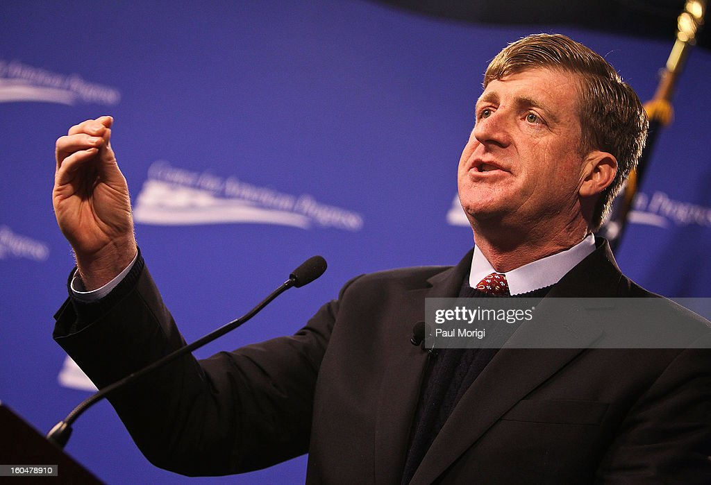 Former Rep. Patrick Kennedy (D-RI) makes a few remarks at the 'Silver Lining Playbook' Mental Health Progress Press Conference at Center For American Progress on February 1, 2013 in Washington, DC.