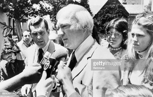 Former Representative Cornelius E Gallagher New Jersey Democrat talks to newsmen outside federal court after being sentenced to two years in prison...