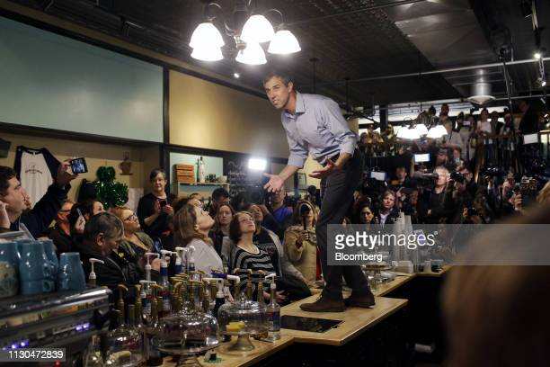 Former Representative Beto ORourke a democrat from Texas and 2020 presidential candidate speaks during a campaign stop in Burlington Iowa US on...