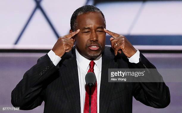 Former Republican presidential candidate Ben Carson delivers a speech on the second day of the Republican National Convention on July 19 2016 at the...