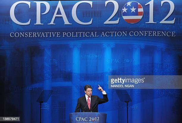 Former Republican presidential candidate Texas Governor Rick Perry speaks during an address to the 39th Conservative Political Action Committee...
