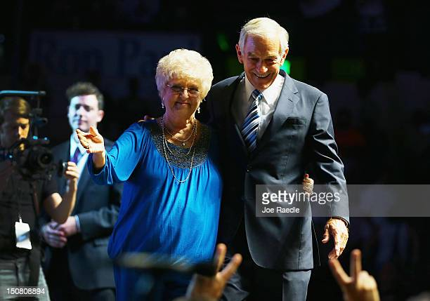 Former Republican presidential candidate US Rep Ron Paul and his wife Carol Paul stand together after he spoke at a rally in the Sun Dome at the...