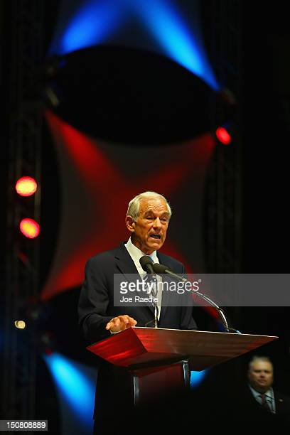Former Republican presidential candidate US Rep Ron Paul speaks during a rally in the Sun Dome at the University of South Florida on August 26 2012...