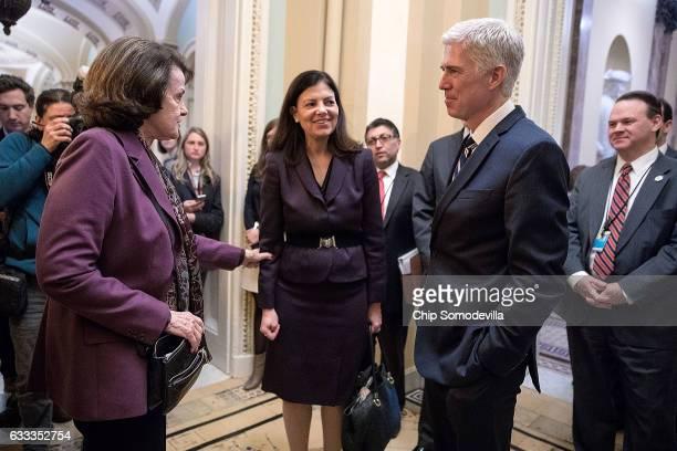 Former Republican senator Kelly Ayotte introduces U.S. Supreme Court nominee Judge Neil Gorsuch to Senate Judiciary Committee ranking member Sen....