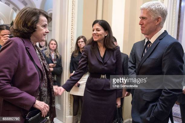 Former Republican senator Kelly Ayotte introduces US Supreme Court nominee Judge Neil Gorsuch to Senate Judiciary Committee ranking member Sen Dianne...