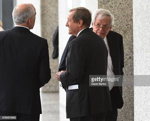 Former Republican Speaker of the House Dennis Hastert arrives for his arraignment at the Dirksen Federal Courthouse on June 9 2015 in Chicago...
