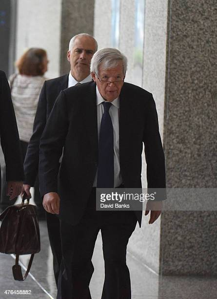 Former Republican Speaker of the House Dennis Hastert leaves his arraignment at the Dirksen Federal Courthouse on June 9 2015 in Chicago Illinois...
