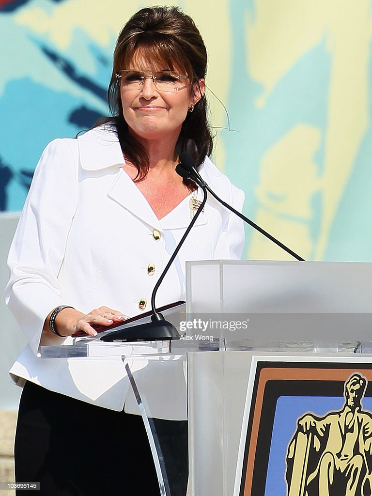 Former Republican U.S. vice presidential candidate and former Alaska Governor Sarah Palin speaks during the 'Restoring Honor' rally in front of the Lincoln Memorial at the National Mall on August 28, 2010 in Washington, DC. Fox News personality Glenn Beck held the rally on the 47th anniversary of the 'I Have a Dream' speech of Dr. Martin Luther King Jr. to 'restore America.'