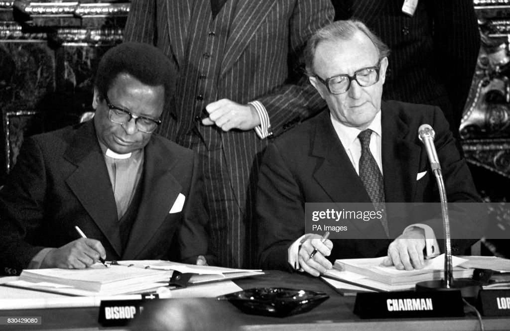 Rhodesia ceasefire pictures getty images former rhodesian premier bishop abel muzorewa l and foreign secretary lord carrington during the platinumwayz