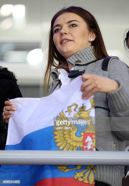 Former rhythmic gymnast Alina Kabayeva is upset after the Men's Ice Hockey Preliminary Round Group A game between Russia and USA on day eight of the...
