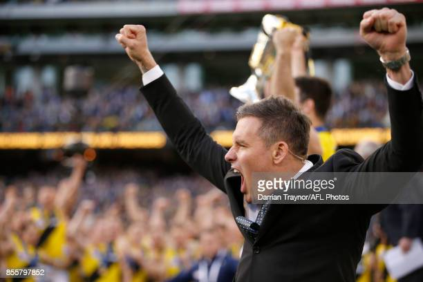 Former Richmond champion Matthew Richardson celebrates after presenting the Premiership cup to his old team after the 2017 AFL Grand Final match...