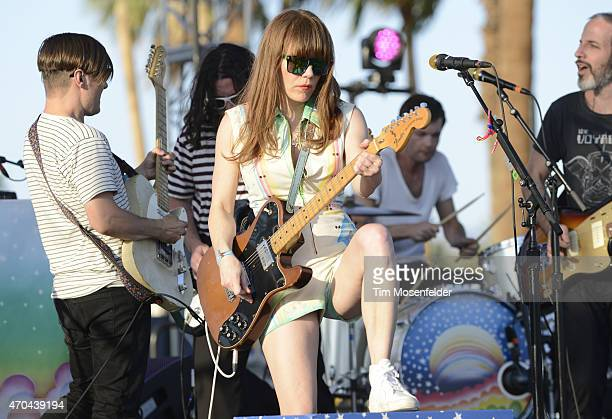 Former Rilo Kiley bandmate Blake Sennett joins Jenny Lewis to perform during the 2015 Coachella Valley Music and Arts Festival at The Empire Polo...