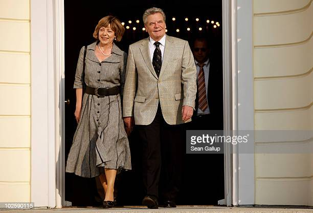 Former rival candidate for German president Joachim Gauck and Gauck's partner Daniela Schadt attend the President's annual summer garden party hosted...