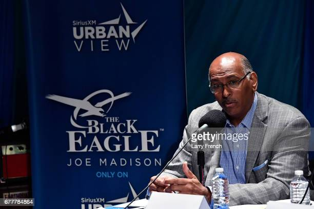 Former RNC chair Michael Steele appears on SiriusXM's Joe Madison show on Urban View A Roundtable Of Veteran Journalists Politicians Political...