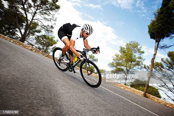 Former road racer Marcel Wust test riding a Bianchi Oltre XR bike at the Casa Ciclista training camp in Majorca, taken on October 30, 2012.