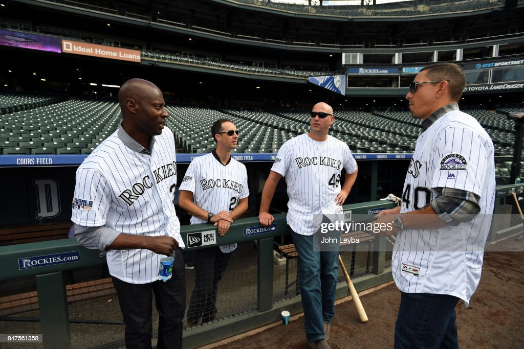 Former Rockies players LaTroy Hawkins, Jeff Francis, Zach McClellan and Brian Fuentes chat before the game with the San Diego Padres on September 15, 2017 in Denver, Colorado at Coors Field. This is the 10th anniversary of Rocktober 2007.