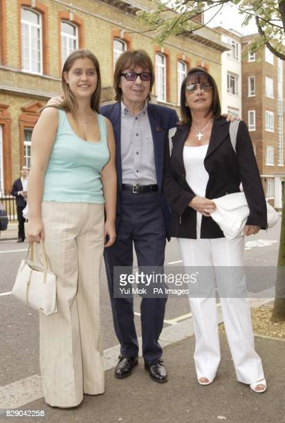 Former Rolling Stone member Bill Wyman with the widow Christina and daughter Cristalle of the late record producer Mickie Most during the unveiling...