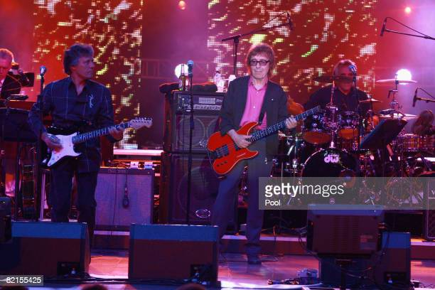Former Rolling Stones bassist Bill Wyman performs with his group the Rhythm Kings at the 60th Monte Carlo Red Cross Ball on August 1, 2008 in Monte...