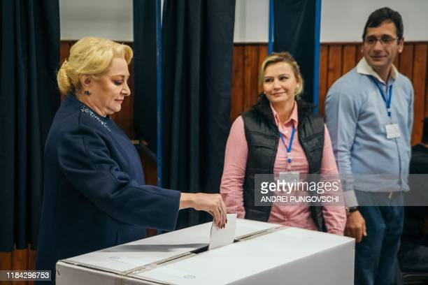 Former Romanian Prime Minister Social Democrats leader and presidential candidate Viorica Dancila casts her ballot on the second round of...