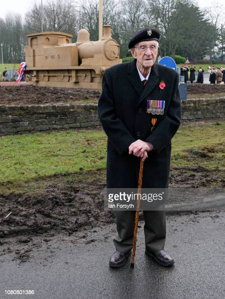 Former Royal Engineer and Dunkirk veteran David Evans from Leyburn unveils a carved locomotive in the centre of Catterick Garrison to mark Armistice...