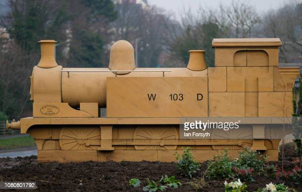 Former Royal Engineer and Dunkirk veteran David Evans from Leyburn unveiled a carved locomotive in the centre of Catterick Garrison to mark Armistice...