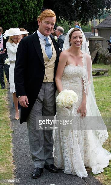 Former Royal Equerry Mark Dyer and Amanda Kline leave St Edmunds Church folllowing their wedding on July 3 2010 in Abergavenny Wales
