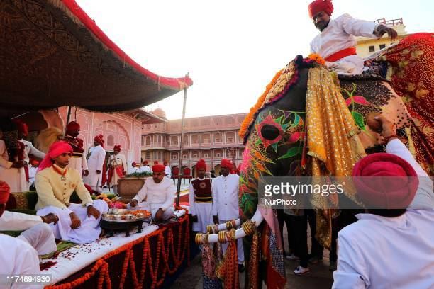 Former Royal Family of Jaipur Maharaja Padmanabh Singh during the 'Shastra Puja' on the occasion of Vijay Dashami at City Palace in Jaipur,...